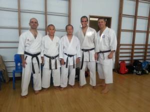 Mark Woollard (1st Dan), Satoru Takahashi (8th Dan), Seiwakai President, Seiichi Fujiwara (8th Dan), Hanshi, Fernando Mahamud (3rd Dan), Brad Candy (1st Kyu)