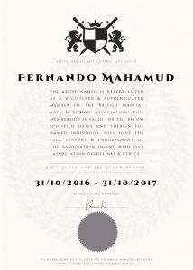 BMABA Association Membership Certificate